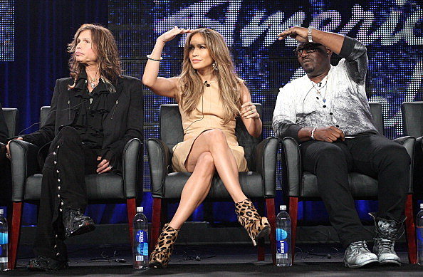 Musicians Steven Tyler, Jennifer Lopez and producer Randy Jackson speak onstage during the 'American Idol' panel at the FOX Broadcasting Company