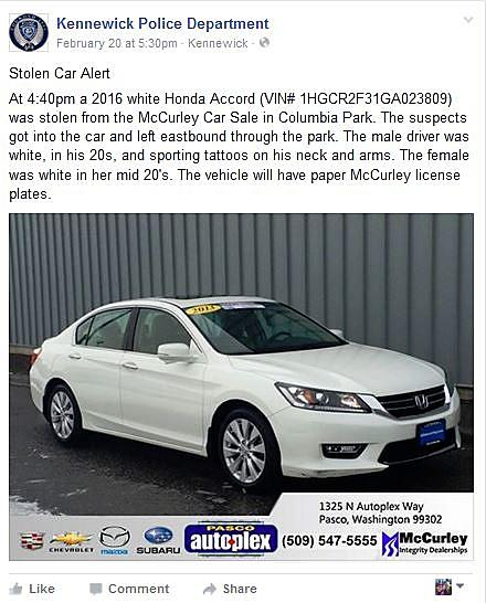 Thieves Steal A Honda From McCurleys Off Site Car Sale This Weekend